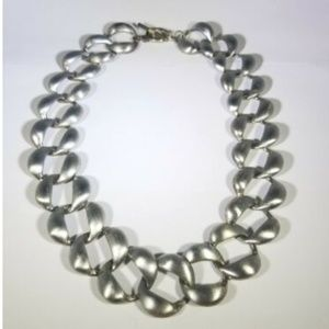 Silver Tone Brushed Wide Large Chain Necklace